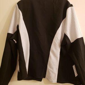 Jackets & Coats - Black and white zip up peplum jacket